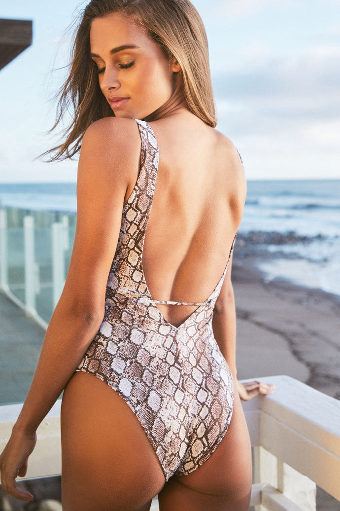 Snakeskin Print One Piece Swimsuit