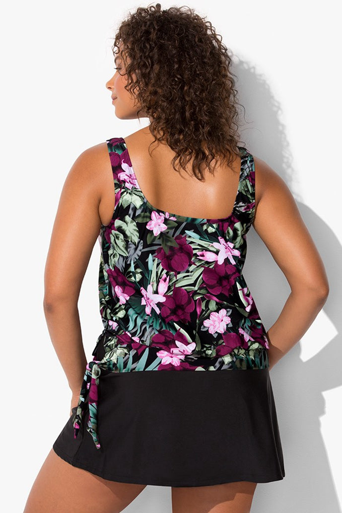 DERBY SIDE TIE BLOUSON TANKINI WITH SKIRT