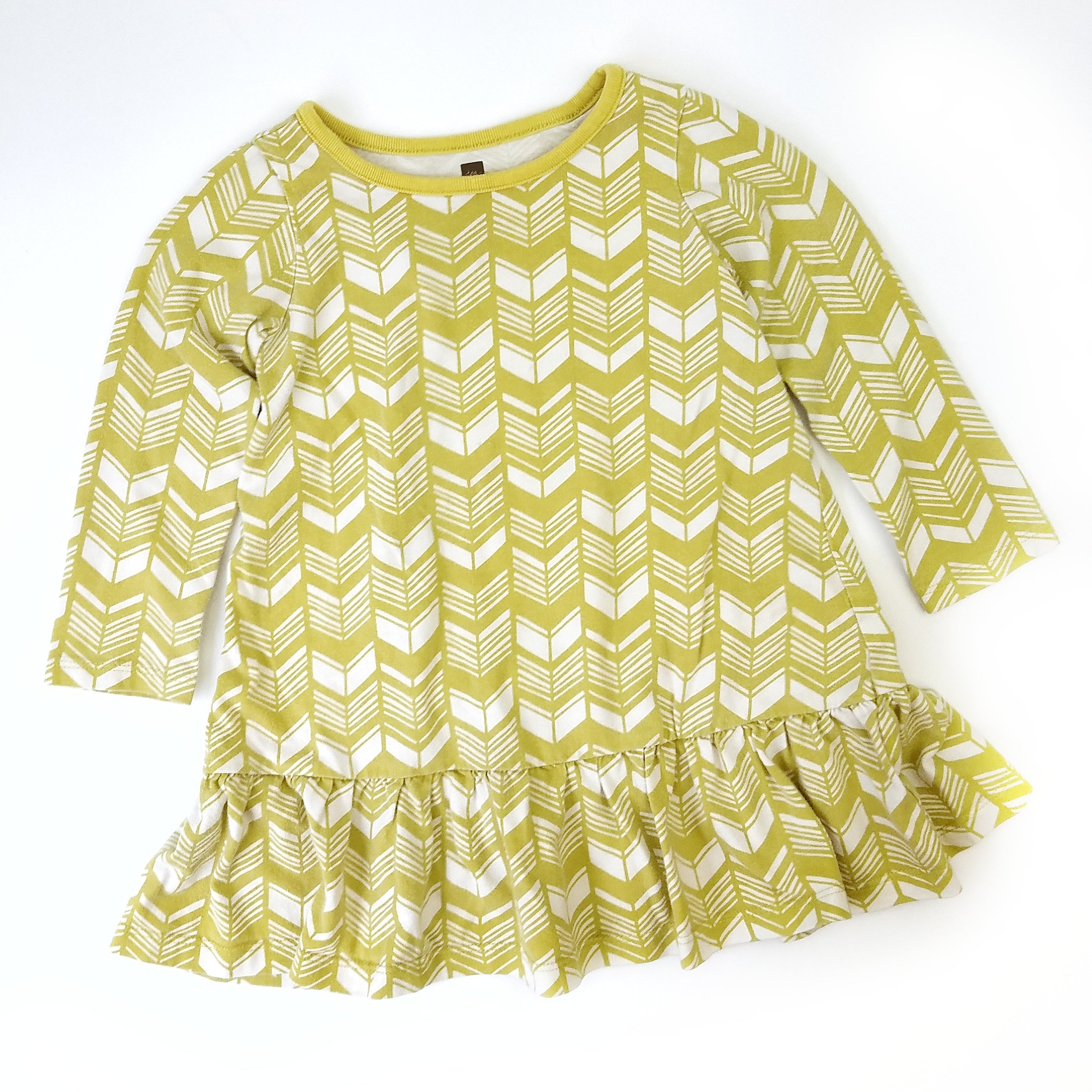 2T Mustard Geometric Drop Waist Dress - Wild Child