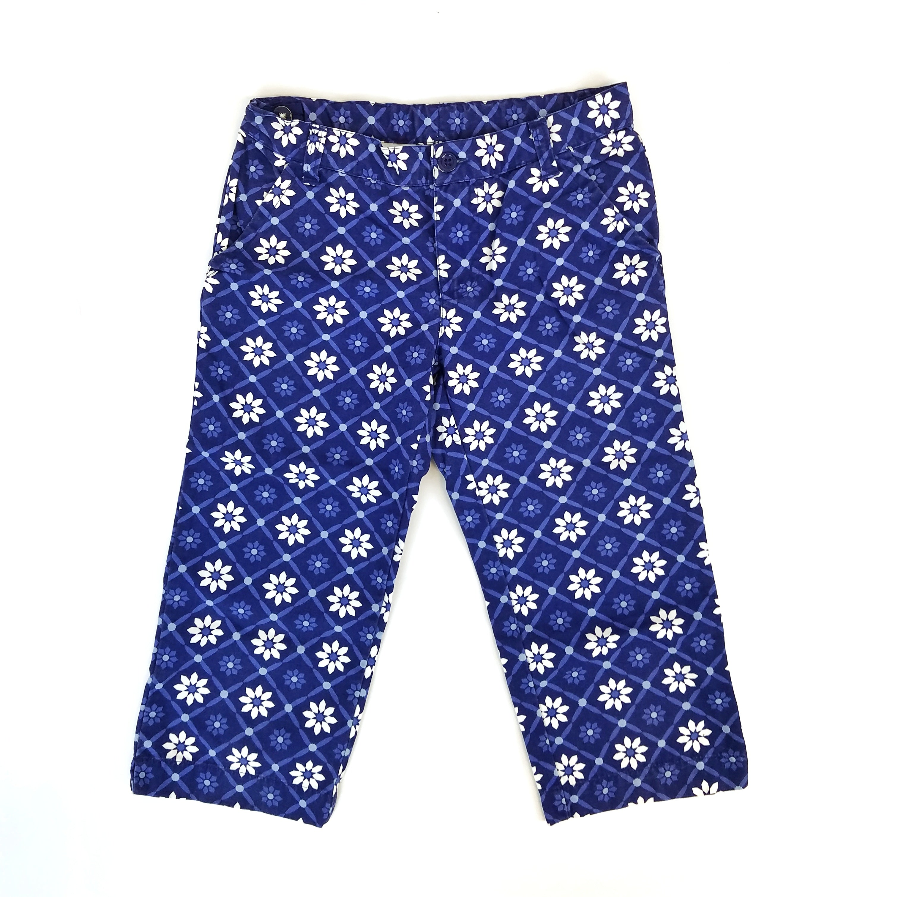 Sz 9 Blue Geometric Floral Capris - Wild Child
