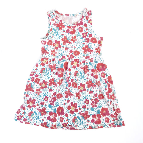 Sz 8 White Floral Tank Dress - Wild Child