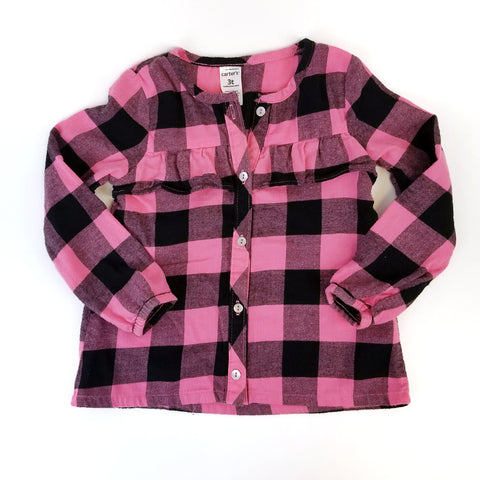 3T Pink + Black Flannel Blouse - Wild Child