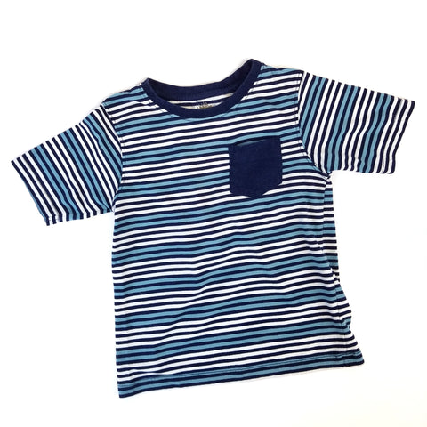 Sz 5-6 Striped Blue T-shirt - Wild Child