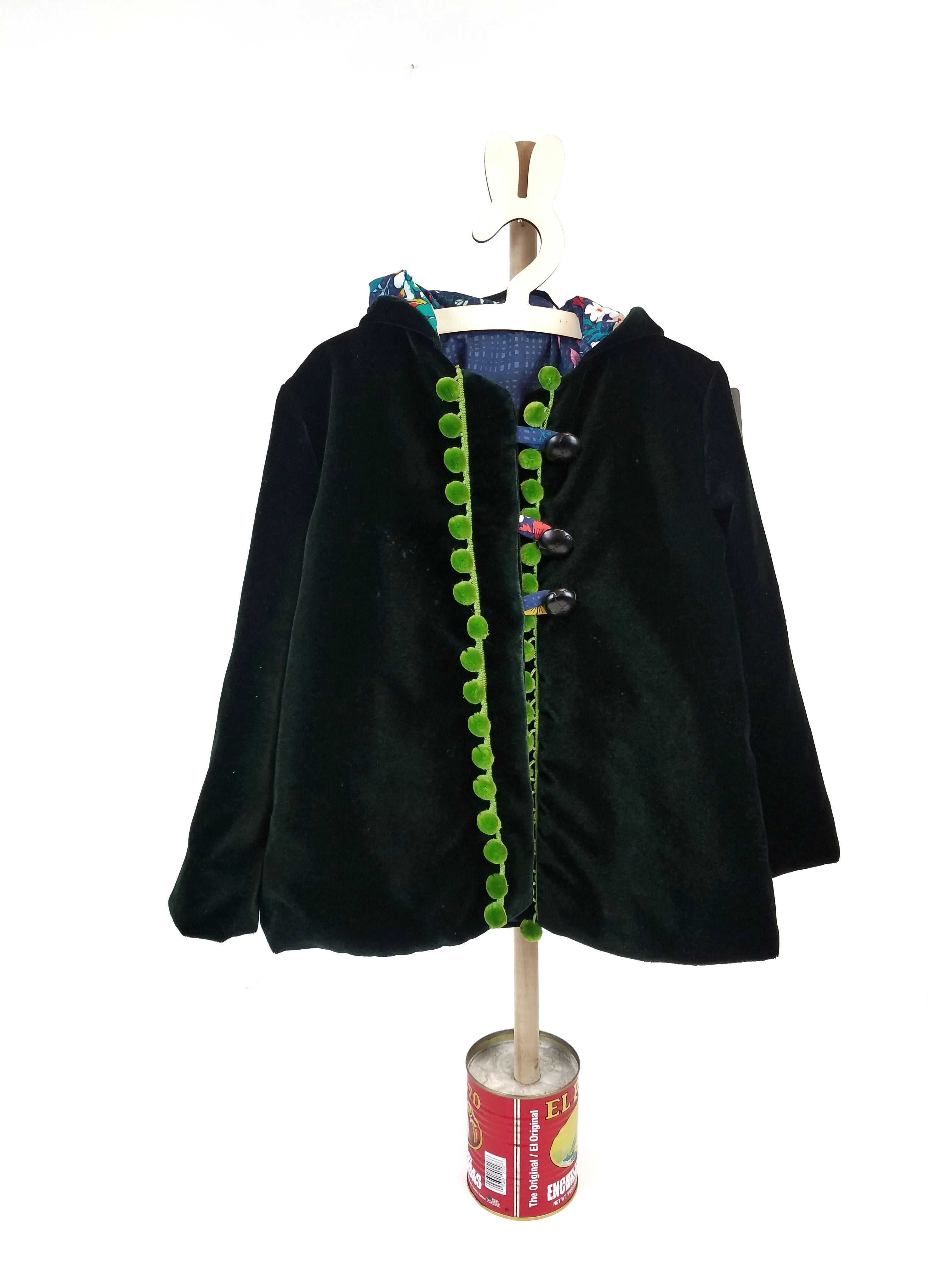 Sz 5 Handmade Green Velvet Coat - Wild Child