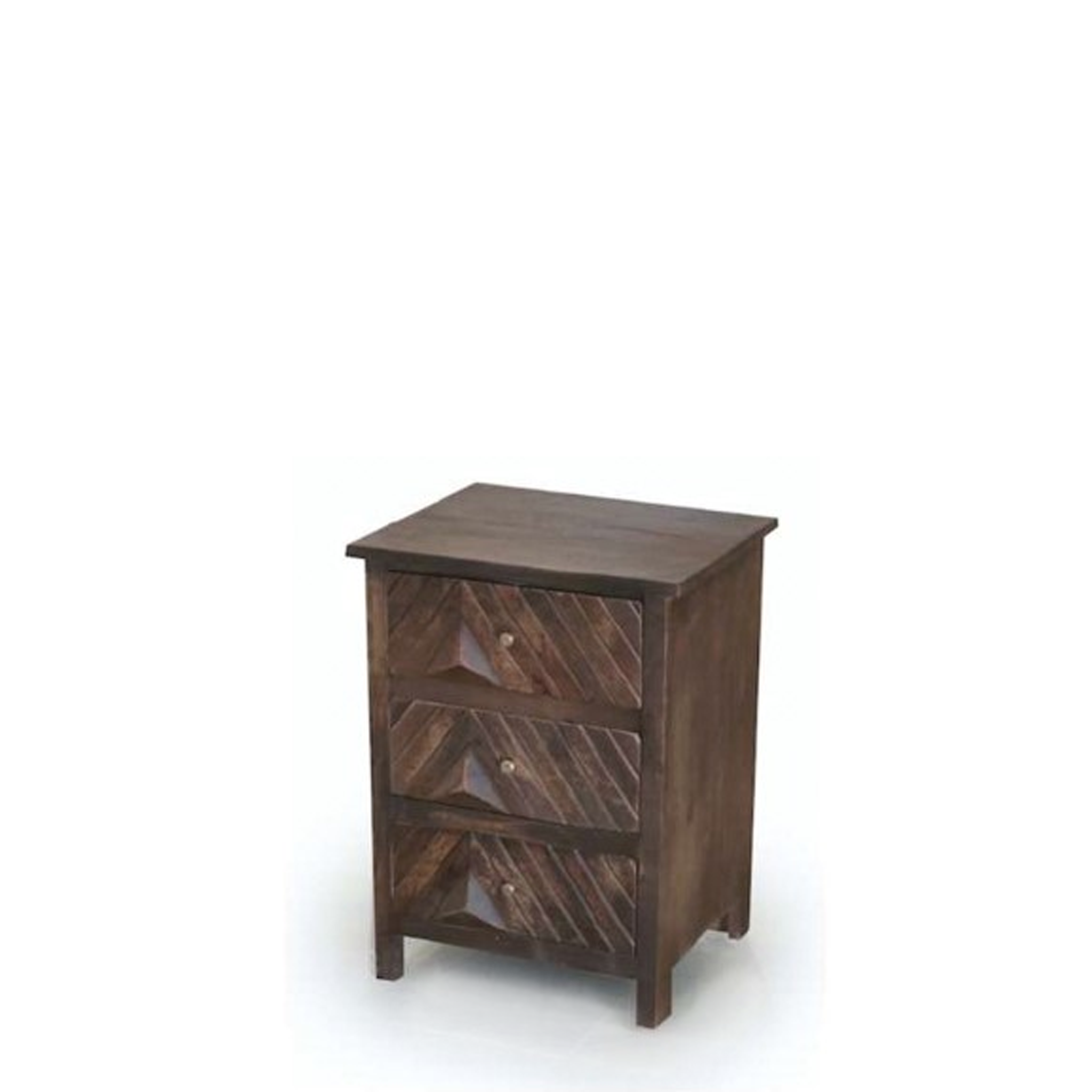 Ebony Night Table - Three Drawers