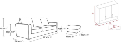 MEASUREMENTS OF YOUR FURNITURE