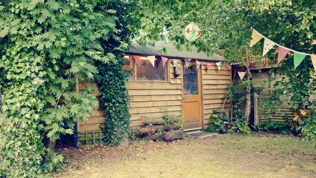 Liz's workshop in a shed at the bottom of her garden
