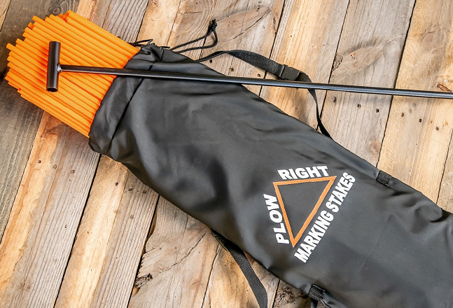 plow right snow plow marking stakes