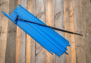"200 - 26"" Hollow Marking Stakes w/ Installation Tool - Bright Blue  -  $0.38 Per Stake"