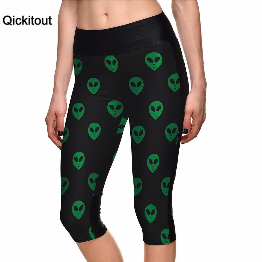Qickitout Summer Fashion  Black Leggings Green aliens Print 7 Point Pants high waist Side pocket Plus Size Drop shipping