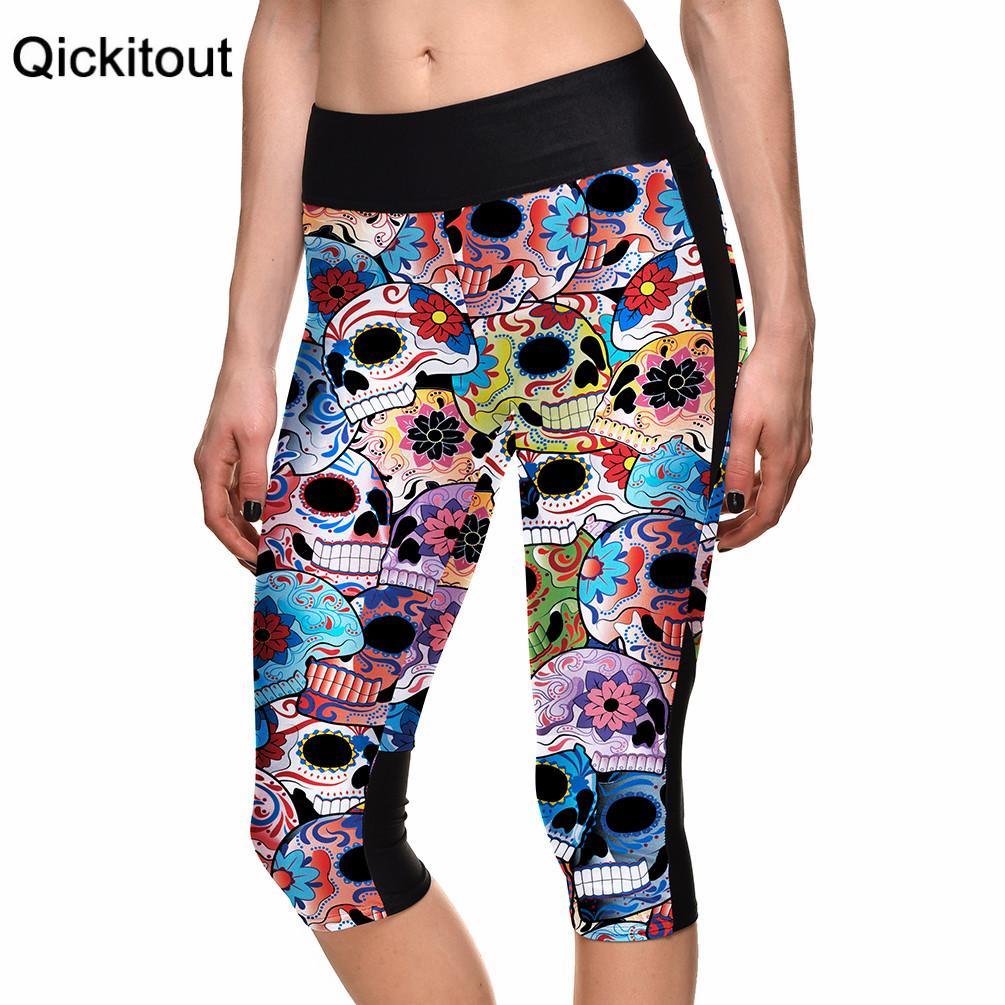 DROP ship SEXY Hot Women's 7 point pants women legging Skull flower color digital print women high waist Side pocket phone pant