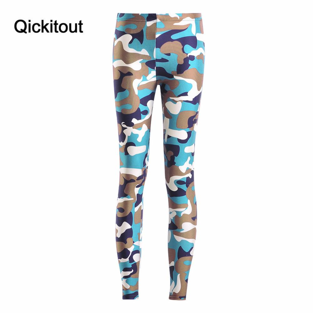 Qickitout Leggings 2016 Spring Fashion Sexy Women Fitness Leggings New Classic Green Camouflage Pant pencil Trousers Jeggings