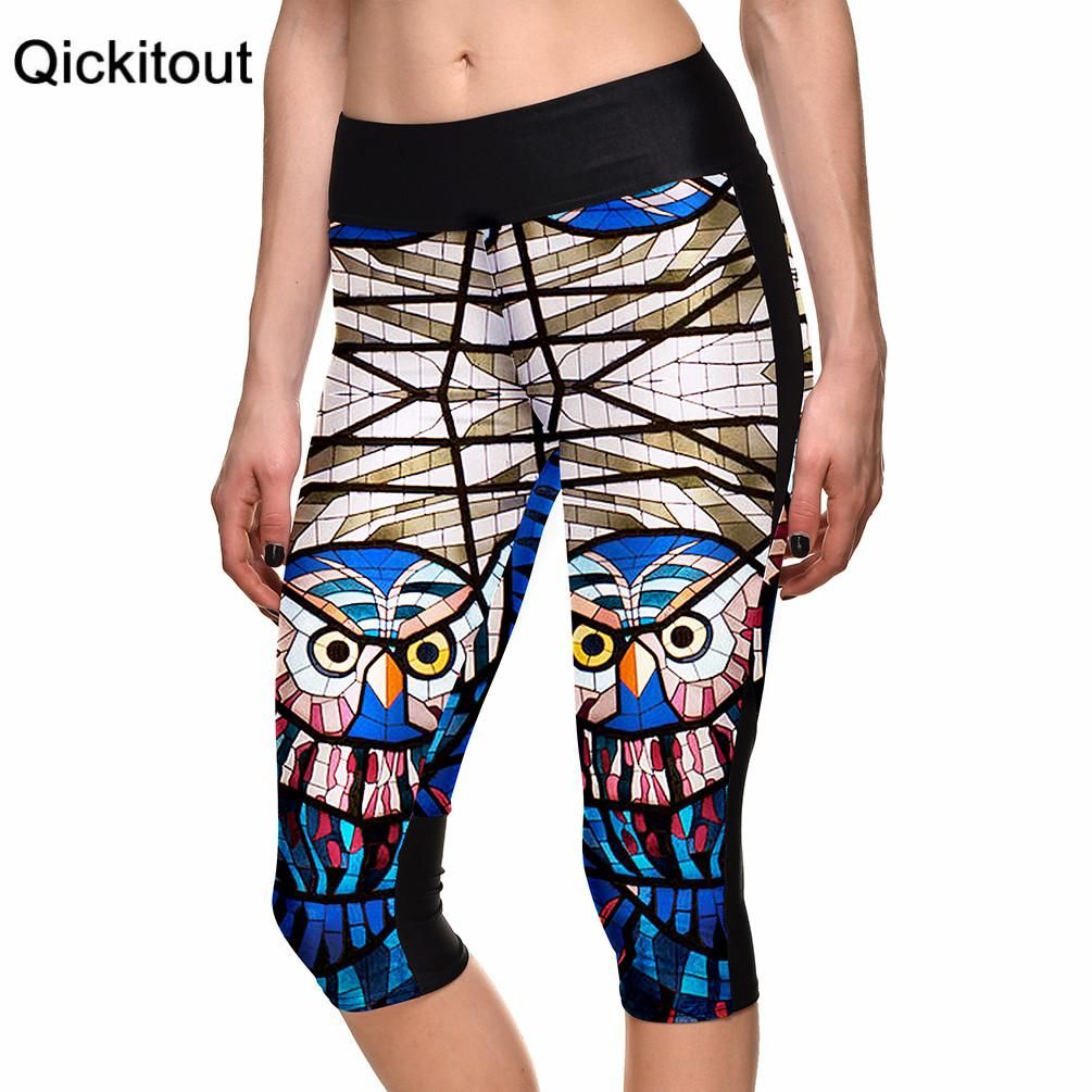 Summer style women's 7 points Leggings Fashion Striped Owl digital printing women's high waist Side pocket phone pants