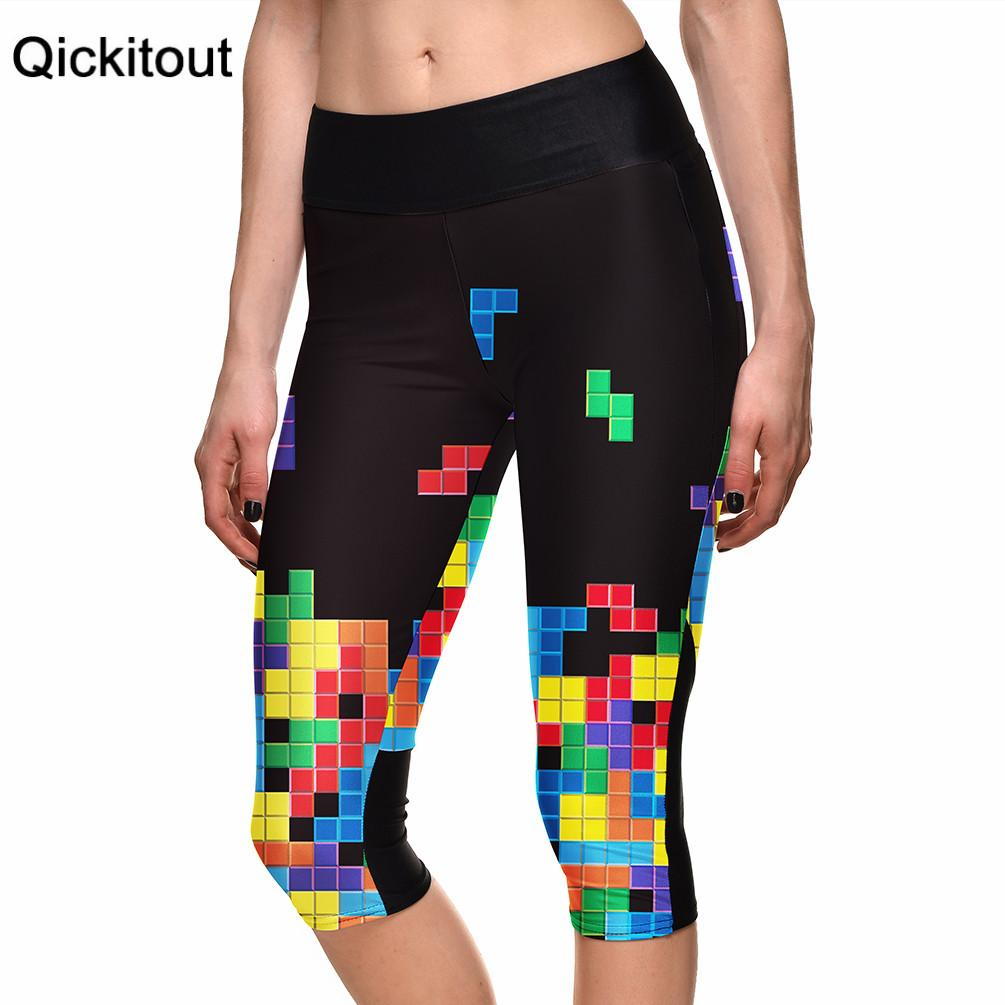 S-XL New Hot Women's 7 point pants women legging Intelligence Tetris game digital print women high waist Side pocket phone pant
