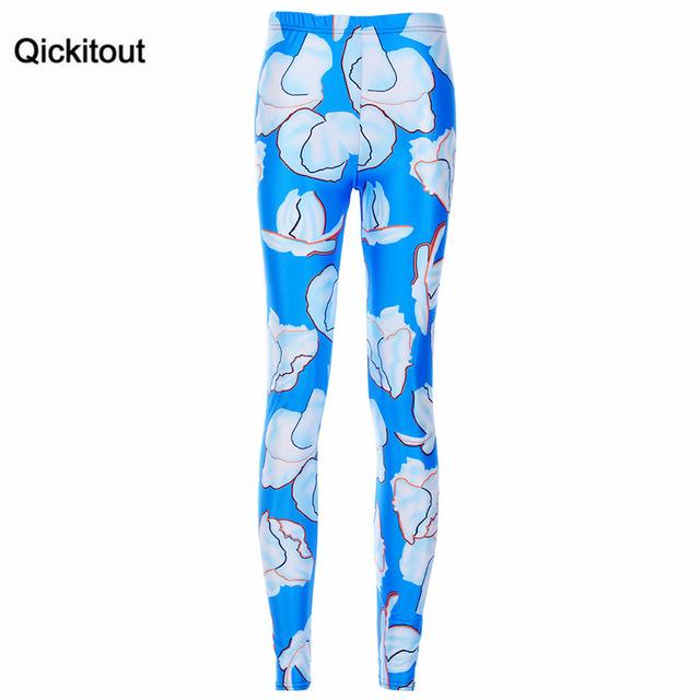 Qickitout Leggings Fashion Summer New Watercolor Striped Lion Cherry Leggings Sexy Leggings Digital Printing Pants Trousers