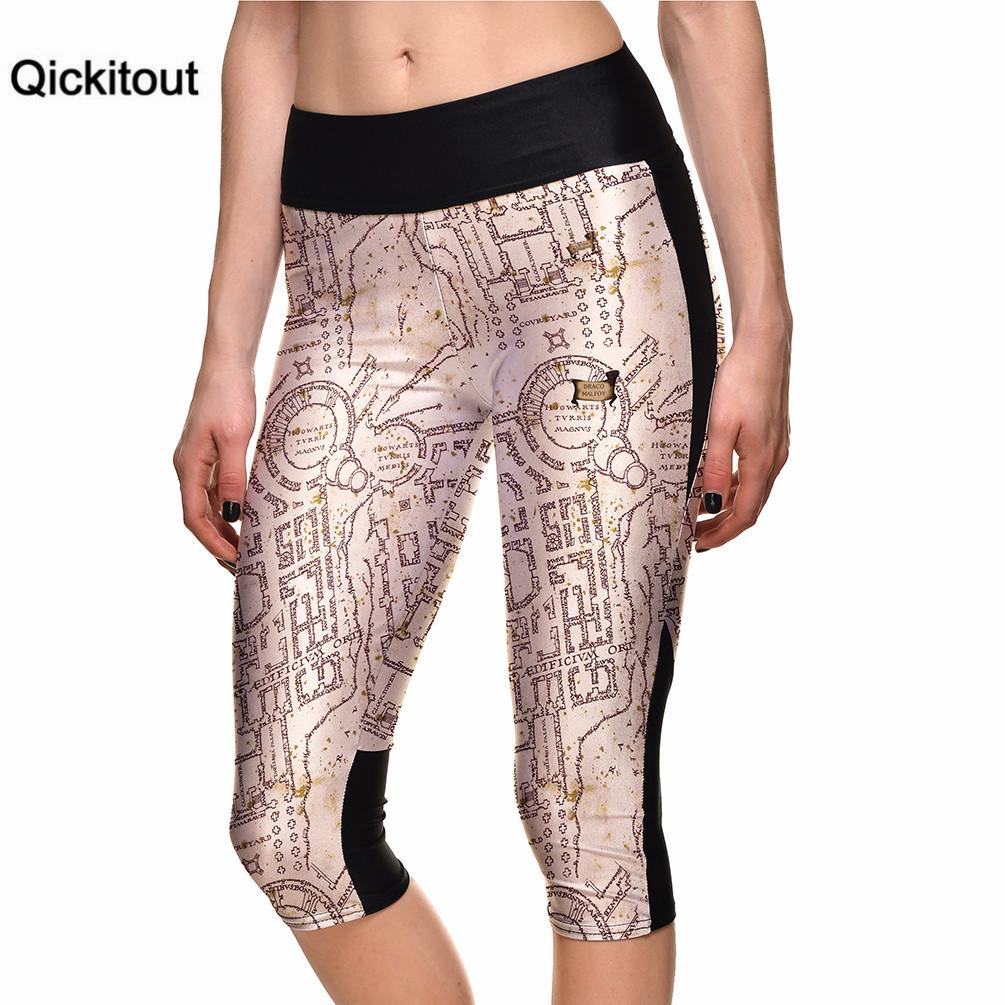 Qickitout 2016 Women's Fashion 7 Point Pants Digital Printing Leggings high waist Side pocket phone pant Plus Size Drop Shipping