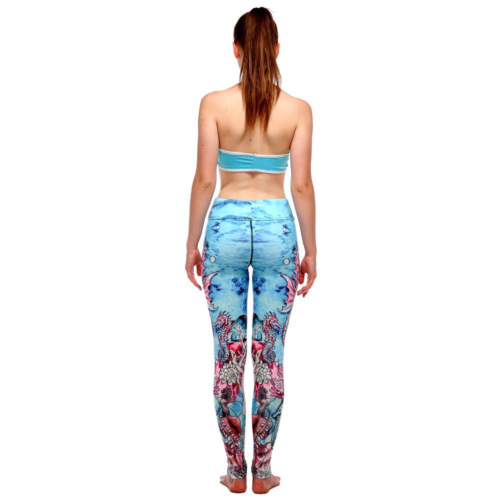 2017 New Women Floral Yoga Pants Female printing Elastic Gym Running Sports Leggings Compression Tights #E0