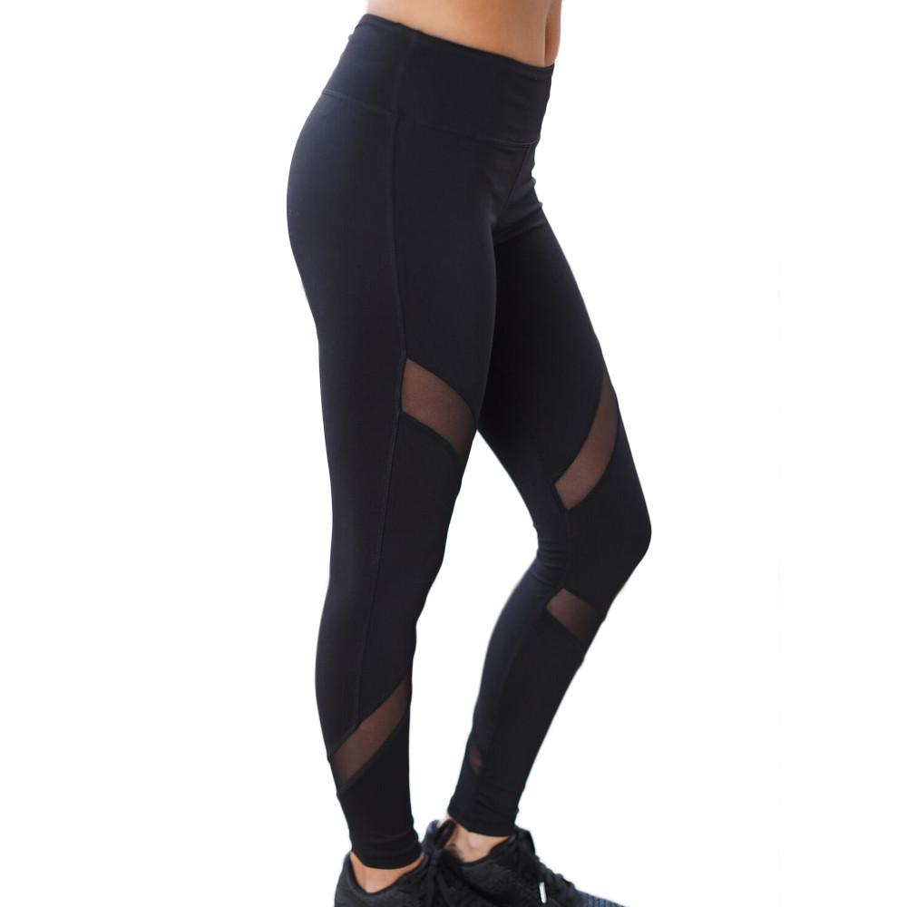 1PC Sportswear Leggings For Women Yoga Pants Compression Sports Gym Tights Fitness Slim Mesh Yoga Pants #EW