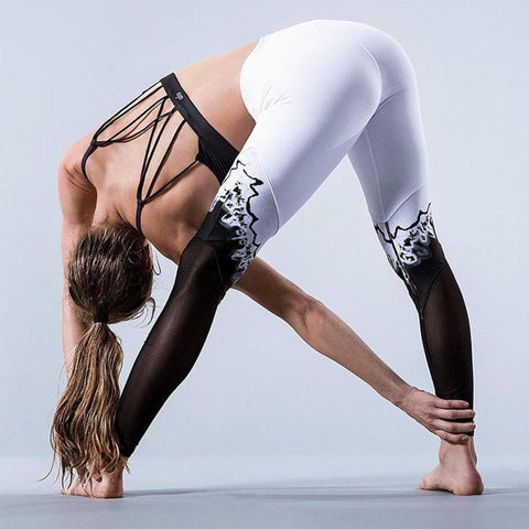 2017 New Summer Print Patchwork Sports Yoga Pants Elastic Tights Running Women Leggings Yoga #EW