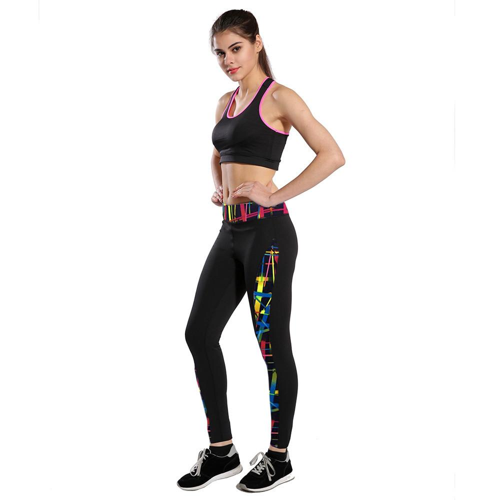 Sport female set High Waist Fitness Yoga Sport Pants Printed Stretch Ankle Length Pants Leggings #E0