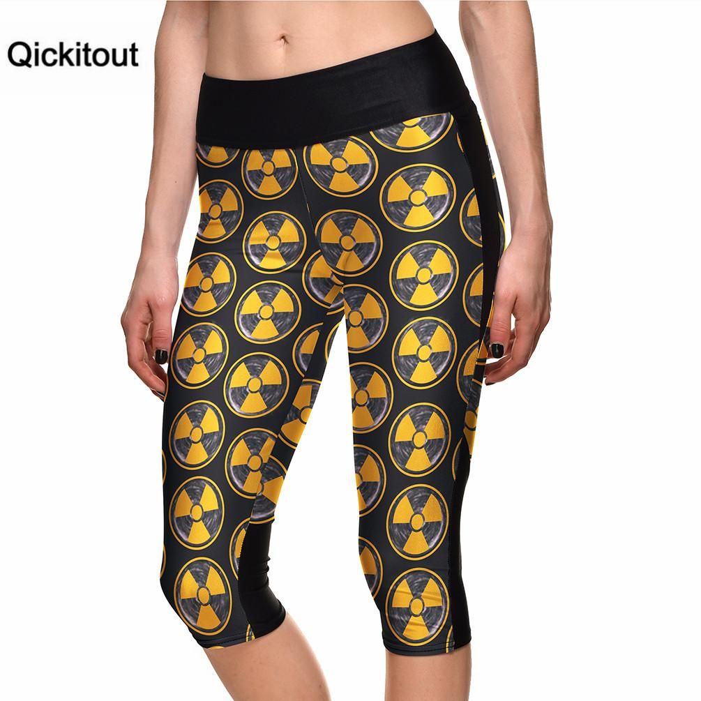 Qickitout 2016 Women's 7 Point Pants Fan Blade Digital Printing Leggings high waist Side pocket  phone pant Drop shipping