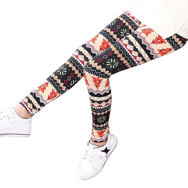 Girls Leggings 2017 Hot Children Leggings Christmas Children Trousers Printing Leggings Flower Baby Kids Girls Pencil Pants