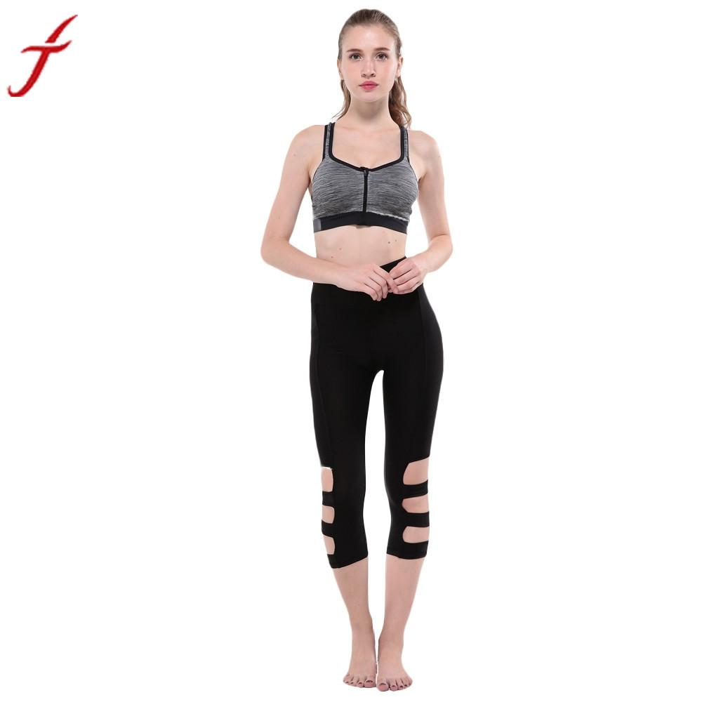 Women Workout Leggings Fashion Hollow Out Medium Waist Fitness Lounge Soild Black Mid-Calf Pants Regular Cropped Trousers