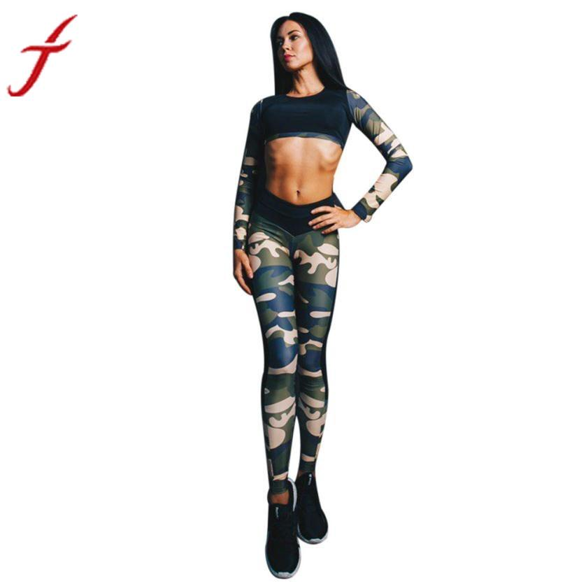 2017 Fitness Tank Tops Sexy Women Tracksuit Camouflage Stitching O-Neck Long Sleeve Sets Wear Vest Singlet for Exercise Workout