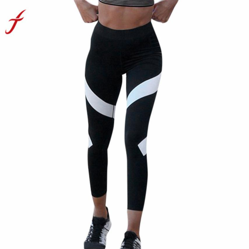 FEITONG Stripped Leggings Womens Splice Skinny Workout Gym High Waist Legging Fitness Elastic Waist Cropped Ankle-Length Pants