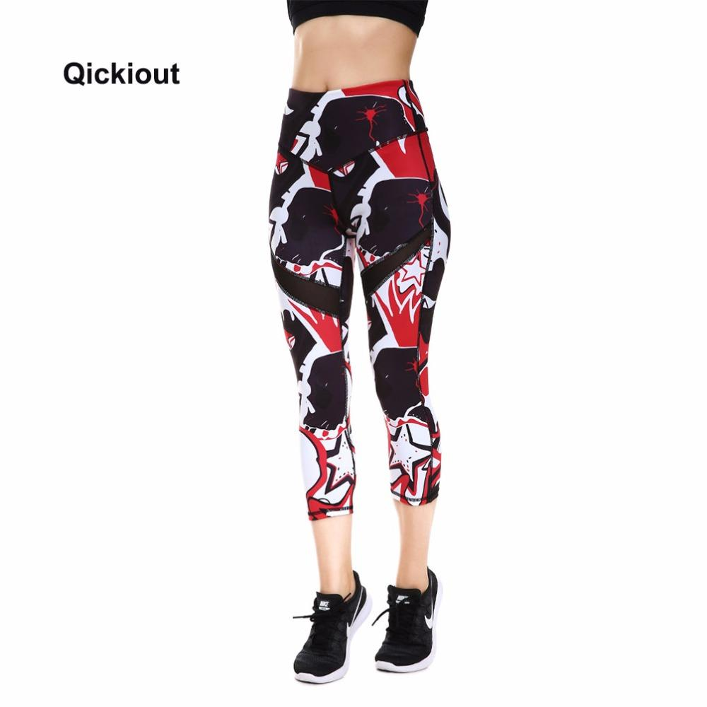 Qickitout Leggings 2018 Halloween Gifts Women's Digital Print PANTS Geometric Stars Big Hip High Waist Pants Fitness Leggings