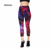 Image of Qickitout New Combination Stitching Leopard Nebula Pattern Leggings Christmas Halloween Women Gifts Fashion Calf-Length Pant