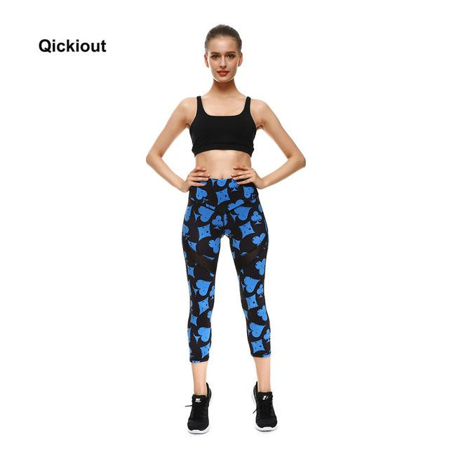 Qickitout New Combination Stitching Leopard Nebula Pattern Leggings Christmas Halloween Women Gifts Fashion Calf-Length Pant