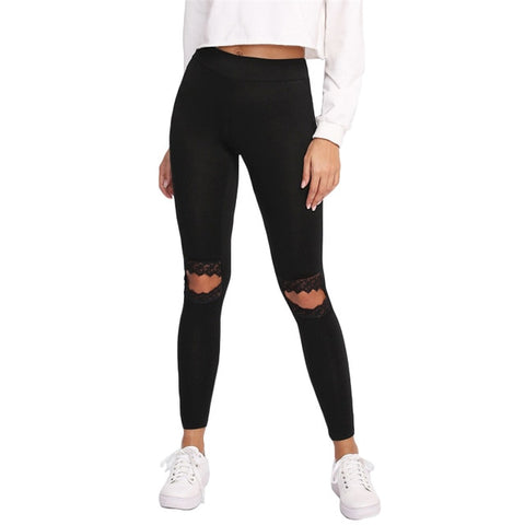 SHEIN Leggings Women Fitness Knee Cut Out Embroidered Mesh Insert Leggings Black Contrast Lace Workout Leggings