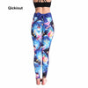 Image of Qickitout Women Push Up Leggings Casual Workout Black Polyester Legging High Waist Bow Leggings Jeggings Women Digital Print