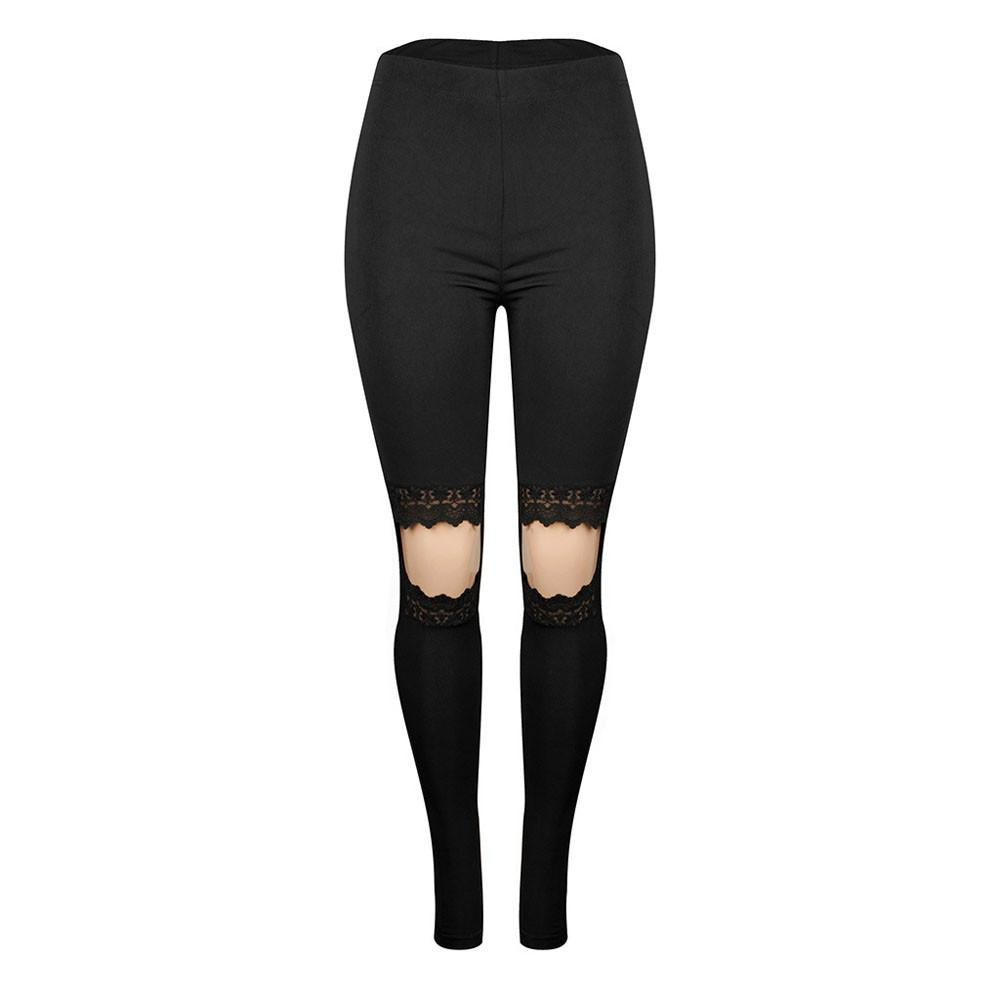 Women Lace Yoga Fitness Hole Leggings Running Gym Stretch Sports Pants Trousers