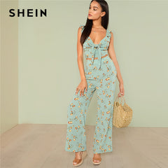 SHEIN Multicolor Vacation Boho Bohemian Floral Print Knot Crop Top With Wide Leg Pants Set Summer Women Ruffle Casual Twopiece