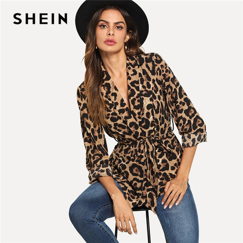SHEIN Multicolor Highstreet Office Lady Shawl Collar Belted Leopard Print Elegant Blazer 2018 Autumn Workwear Women Outerwear