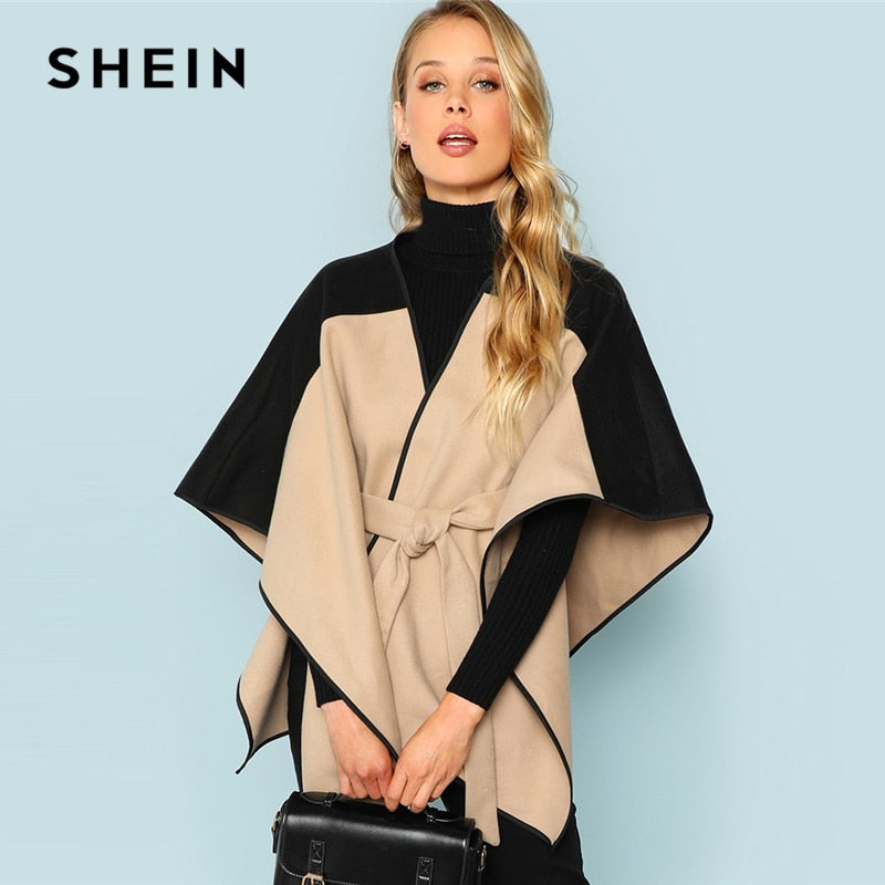 SHEIN Khaki Cut and Sew Lace Up Coat Elegant 3/4 Sleeve Belted Outer Coats Women Highstreet Fashion Coats