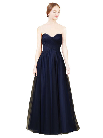 Mila Gowns Kaydence Long A-Line Sweetheart Tulle Dark Navy Bridesmaid Dress 172013