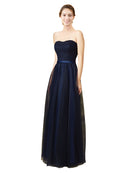 Mila Gowns Holly Long A-Line Sweetheart Tulle Lace Dark Navy Bridesmaid Dress 172014