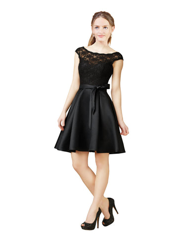 Mila Gowns Justice Short A-Line Illusion Neckline Bateau Lace Satin Black Bridesmaid Dress 172020