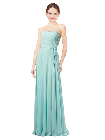 Mila Gowns Adelina Long A-Line Sweetheart Chiffon Turquoise Bridesmaid Dress 172025