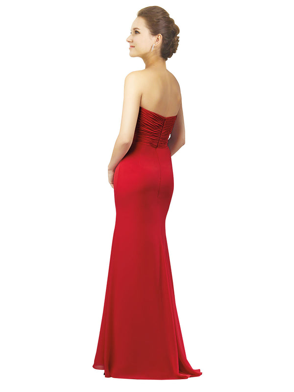Mila Gowns Ashlynn Long A-Line Sweetheart Chiffon Red Bridesmaid Dress 172026