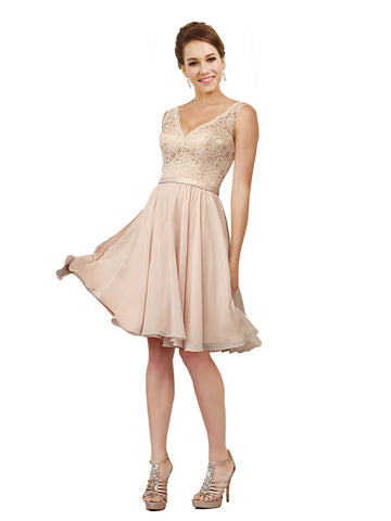 Mila Gowns Kassidy Short A-Line V-Neck Chiffon Pink Bridesmaid Dress 172032