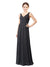 Mila Gowns Charley Long Sheath V-Neck Chiffon Slate Grey Bridesmaid Dress 172033