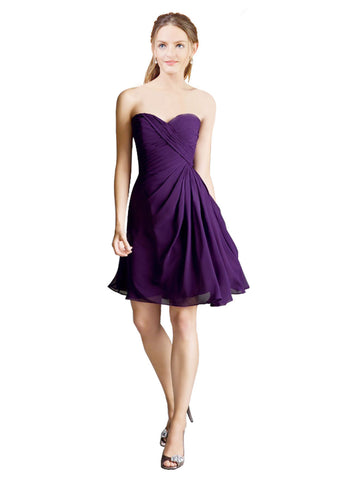 Mila Gowns Helena Short A-Line Strapless Sweetheart Chiffon Purple Bridesmaid Dress 172037