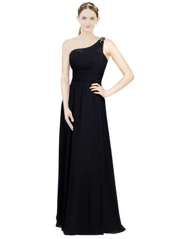 Mila Gowns Michaela Long A-Line One Shoulder Chiffon Black Bridesmaid Dress 172040