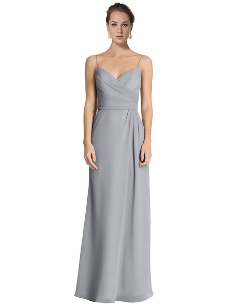 Mila Gowns Bridesmaid Dress Jaelyn Bridesmaid Dress, Grey Sheath Spaghetti Straps Floor Length Long Chiffon Sleeveless Bridesmaid Dress