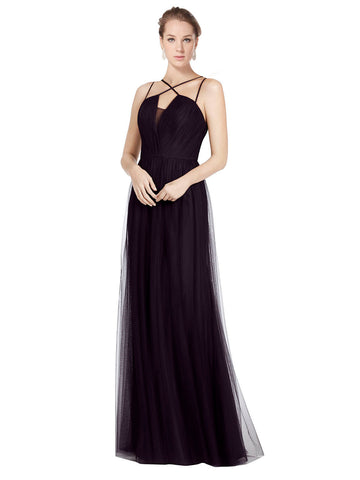 Mila Gowns Bridesmaid Dress Aileen Bridesmaid Dress, Black A-Line Spaghetti Straps, High Neck Floor Length Long Tulle Bridesmaid Dress