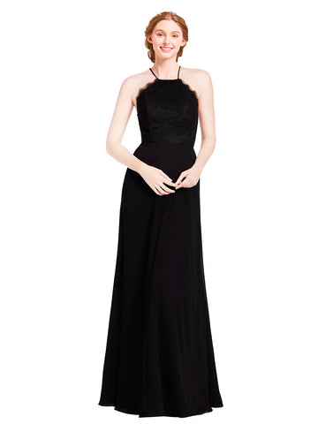 Mila Gowns Bridesmaid Dress Kinslee Bridesmaid Dress, Black A-Line Halter Floor Length Long Chiffon Sleeveless Bridesmaid Dress